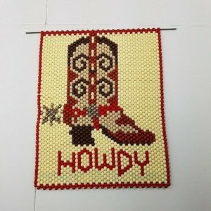 Howdy Beaded Wall Hanging Cowboy Boots Western